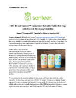 CBD Brand SanteerTM Launches Chewable Tablet for Dogs with Record-Breaking Solubility